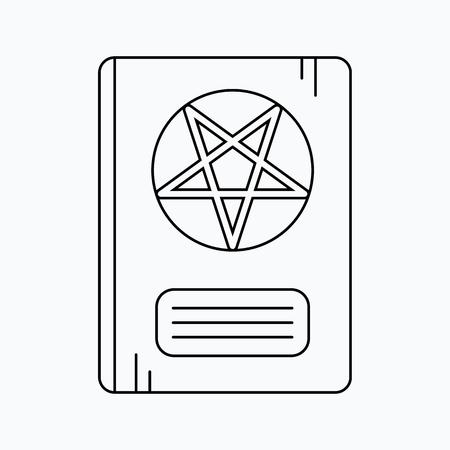 diabolic: Leather Book With Pentagram. Vector icon. Halloween illustration