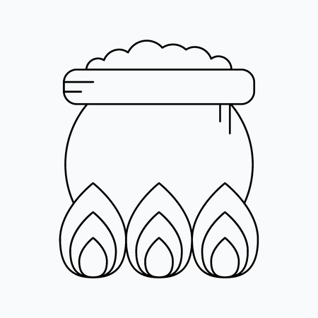 Witch cauldron icon. Halloween vector icon.