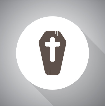 casket: Modern coffin vector icon. Halloween.