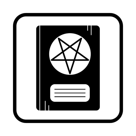 enchantment: Leather Book With Pentagram. Vector icon. Halloween illustration