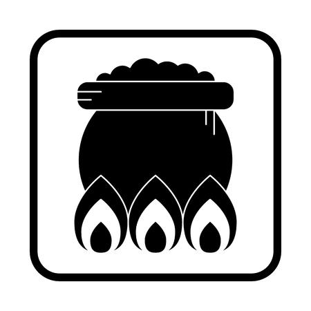 Witch cauldron icon. Halloween vector icon.