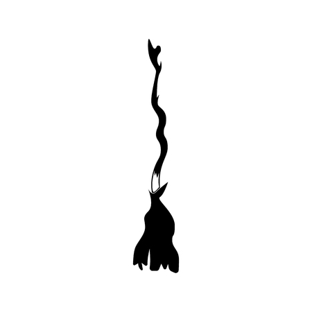 witch broomstick. vector illustration. Halloween symbol. Vettoriali