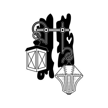 Halloween vector icons. Openwork lamps symbol