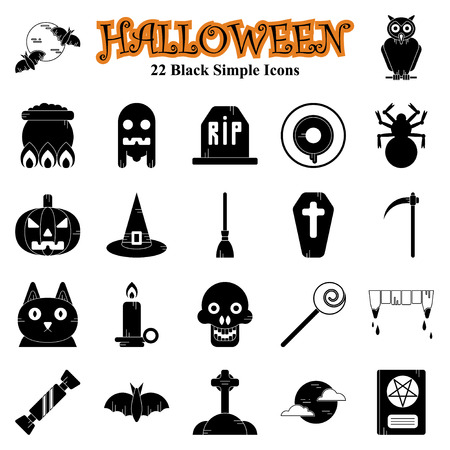 Set of vector flat design Halloween Black simple icons Vettoriali
