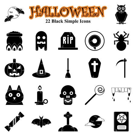 Set of vector flat design Halloween Black simple icons Illusztráció