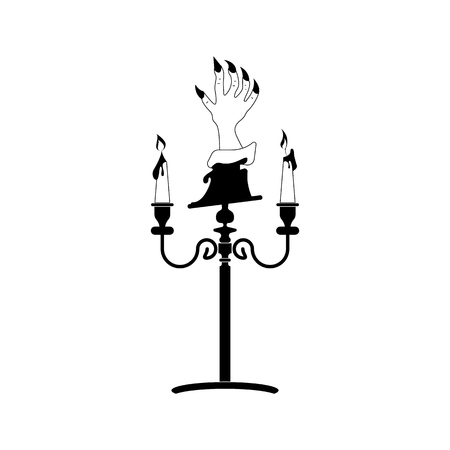 Scary zombie hand silhouettes on a candlestick. vector icon.