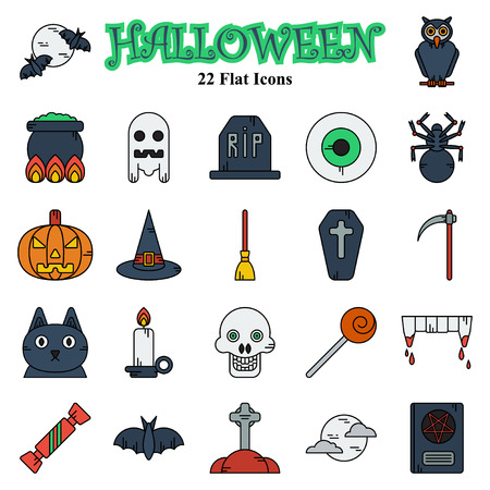 Set of vector flat design Halloween colored icons Vettoriali