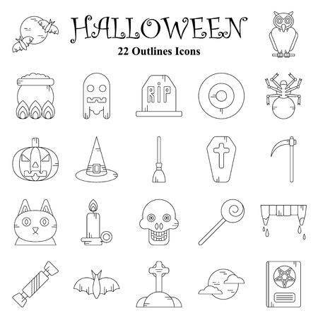 Set of vector flat design Halloween Outlines icons