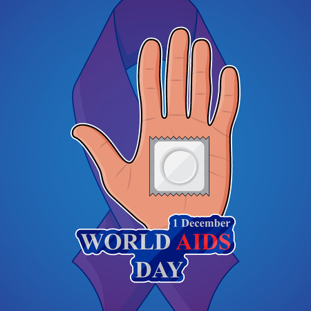 red condom: World AIDS Day. Condom on palm on background with red ribbon. Illustration