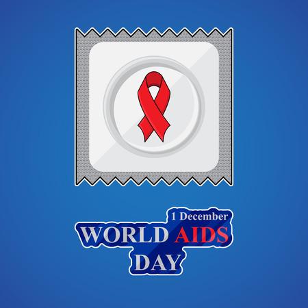 aids awareness ribbon: World Aids Day poster with condom, red aids awareness ribbon