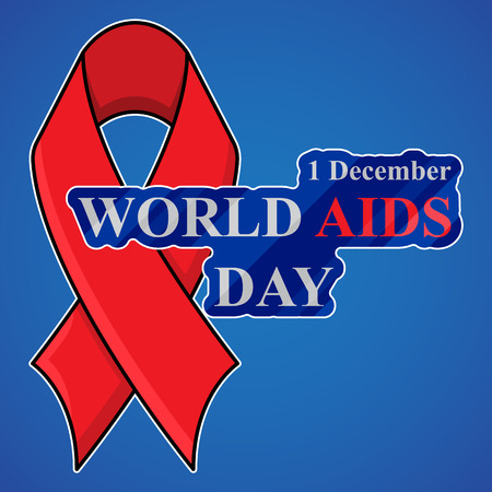 deficiency: World Aids Day background with red ribbon of aids awareness