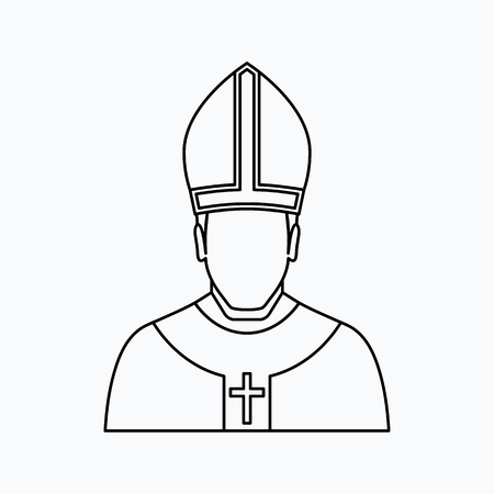 pope Vector illustration. Religion icon. Silhouette. Flat style.