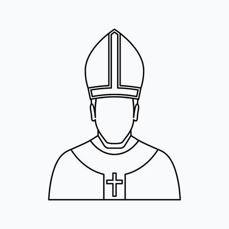 illustrazione vettoriale papa. Icona di religione. Silhouette. Stile piatto