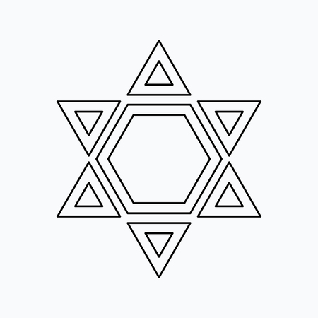 Star of David Vector illustration. Religion icon. Silhouette. Flat style. Vettoriali