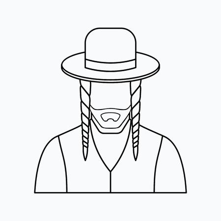 Jew vector character. Vector illustration. Religion icon. Silhouette. Flat style. Illusztráció