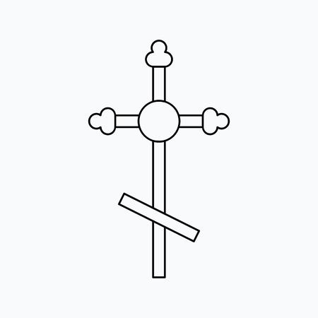 Vector illustration of cross. Religion icon. Silhouette. Flat style. Illusztráció