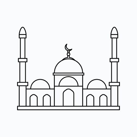 Muslim mosque isolated flat facade. Vector illustration. Religion icon. Silhouette. Flat style. Vettoriali