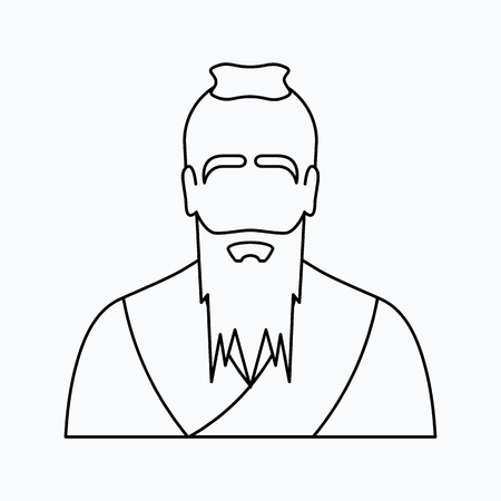 Confucius Vector illustration. Religion icon. Silhouette. Flat style.