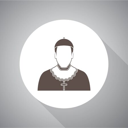 Cardinal - Catholic priest Vector illustration. Religion icon. Silhouette. Flat style.