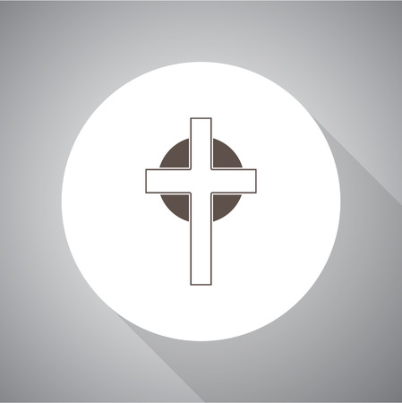 Vector illustration of cross. Religion icon. Silhouette. Flat style. Vettoriali