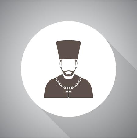 pastor: Orthodox priest Vector illustration. Religion icon. Silhouette. Flat style. Illustration