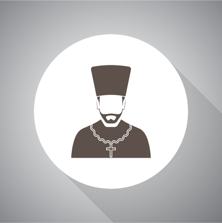 Orthodox priest Vector illustration. Religion icon. Silhouette. Flat style. Vettoriali