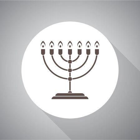 Menorah for Hanukkah, Vector illustration. Religion icon. Silhouette. Flat style. Illusztráció