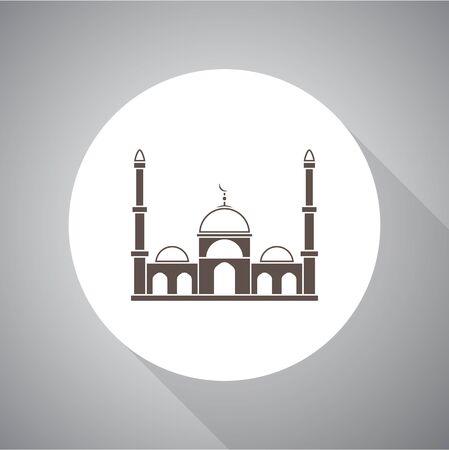 Muslim mosque isolated flat facade. Vector illustration. Religion icon. Silhouette. Flat style. Illusztráció