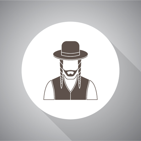 Jew vector character. Vector illustration. Religion icon. Silhouette. Flat style. Vettoriali