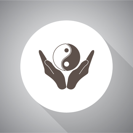 Vector illustration of hands holding yin yang symbol. Religion icon. Silhouette. Flat style.