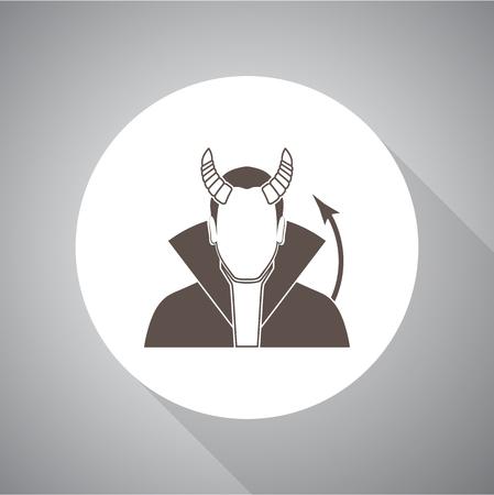 Demon Vector illustration. Religion icon. Silhouette. Flat style. Illusztráció