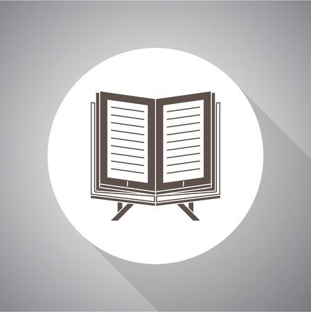 Vector illustration of Islamic Book Koran in flat style. Religion icon. Silhouette.