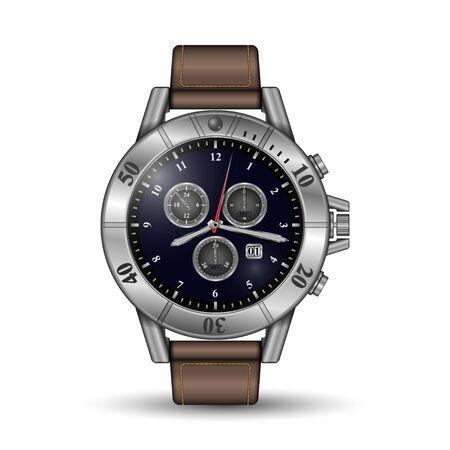 Realistic watch on a white illustration. Illusztráció