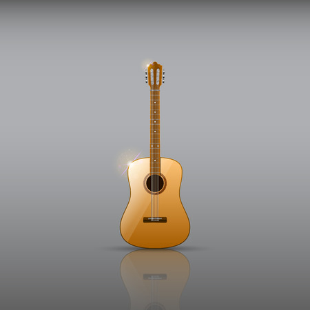 Classical acoustic guitar illustration. Illusztráció