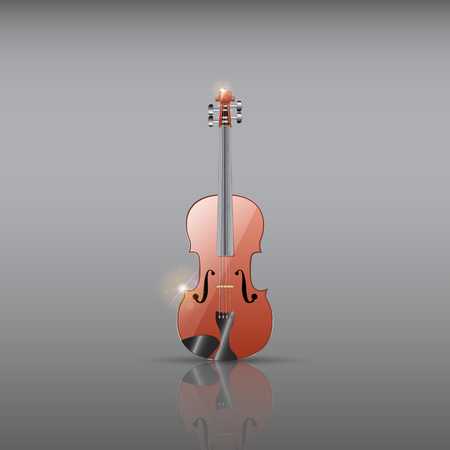 Realistic wooden violin illustration.