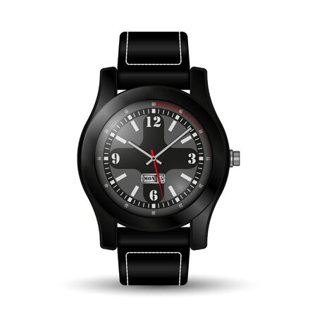 Realistic watch on white illustration.