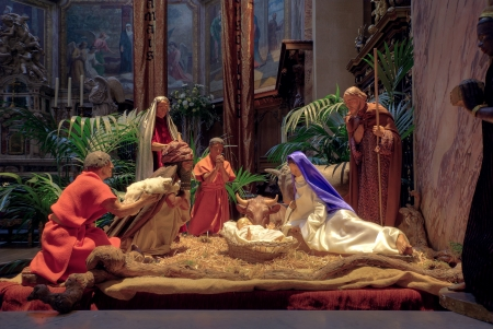 Christmas nativity scene with the figurines of Mary, Joseph, Baby Jesus, the Wise Men and animals