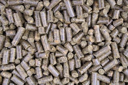 動物の食料として使われるペレットのクローズ アップ 写真素材