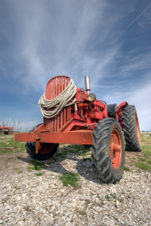 old tractors: French antique tractor used for oyster farming Stock Photo