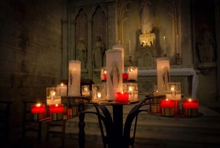 Prayer candles burning at a church