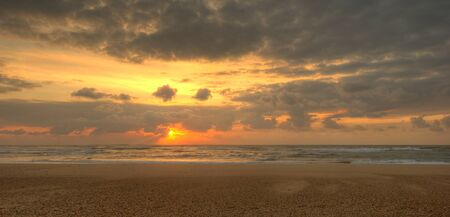 hdr: Lonely beach at sunset, panoramic view