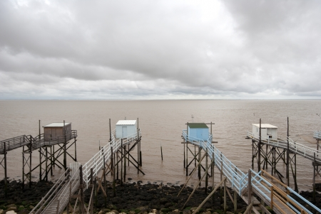 fluvial: Fishing cabins in the Gironde estuary West coast of France