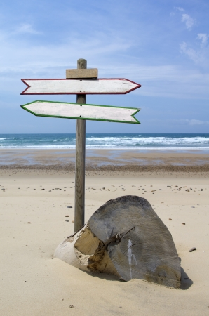 Double directional signs on a beach photo