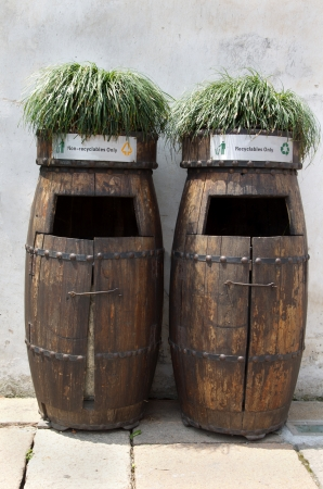 Wooden barrel and recycling bin in China