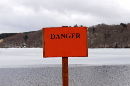 thin ice: Warning sign, information sign, thin ice  Stock Photo