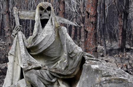 バック グラウンドで破損するフォレストと死神像 写真素材