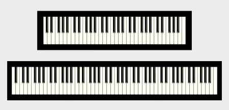 Claviers de piano, 61 et 88 touches, isolé sur fond blanc Banque d'images - 16898281