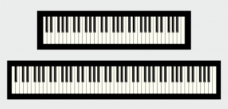 piano closeup: Piano keyboards, 61 and 88 keys, isolated on white background