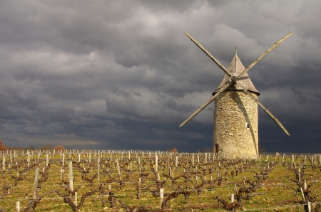 gironde department: French windmill. The windmill of Courrian is situated in the Gironde department in Aquitaine in southwestern France Stock Photo