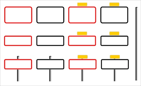 Illustration of french road signs with blank frames  for village and town names  Stock Photo
